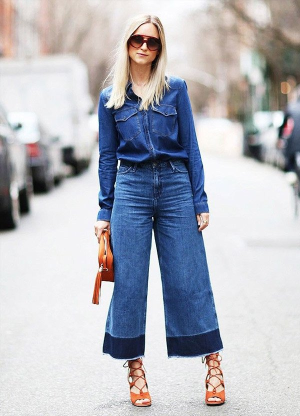 flare-wide-pants-denim-all-jeans-shirt-street-style-cameo-bag