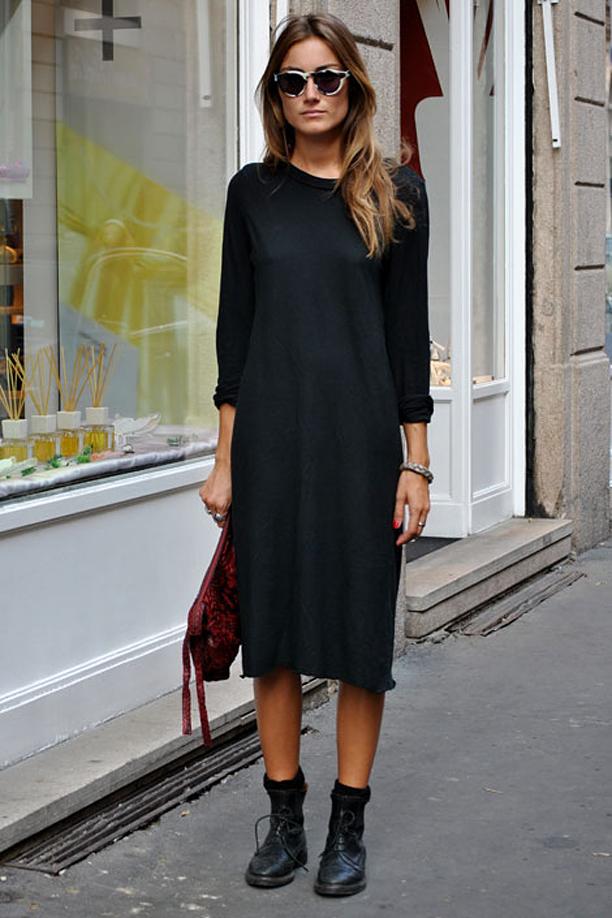 look minimalista com coturno