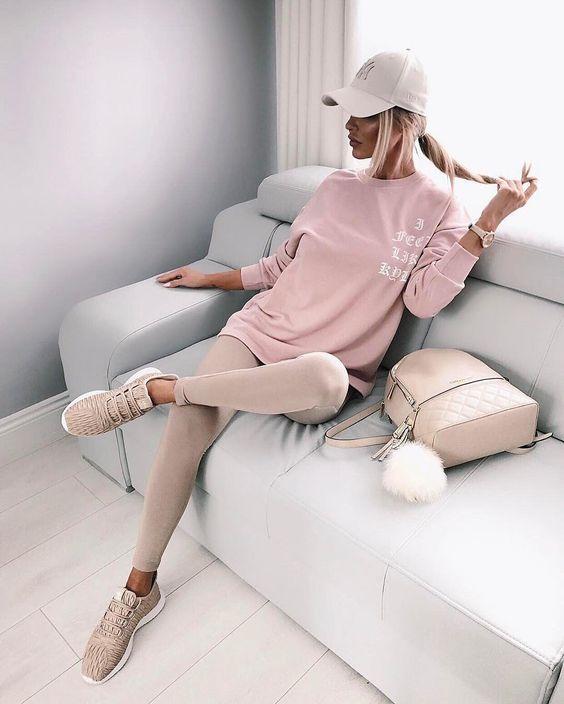 look esportivo rosa blush