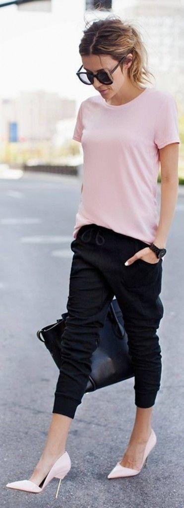 look rosa blush com preto